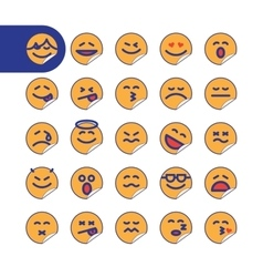 Set of sticker emoji emoticons vector image