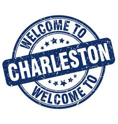 Welcome to charleston blue round vintage stamp vector