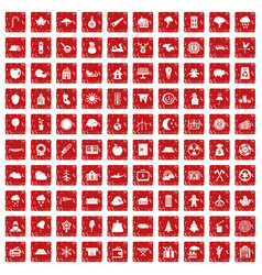 100 lumberjack icons set grunge red vector image