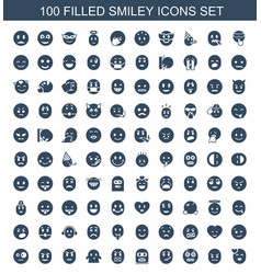 100 smiley icons vector