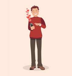 a declaration of love by text vector image