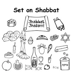 a set of graphic black and white elements shabbat vector image