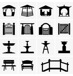 Arbors gates fountains benches vector image