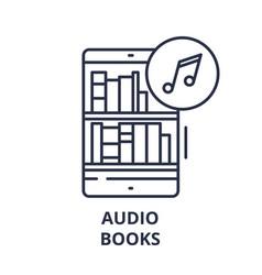 audio books line icon concept audio books vector image