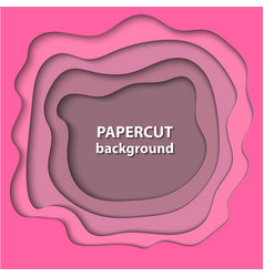 background with pink color paper cut shapes 3d vector image