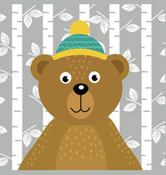 Bear on background of birch trees vector