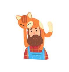 bearded hipster man and his red cat adorable pet vector image