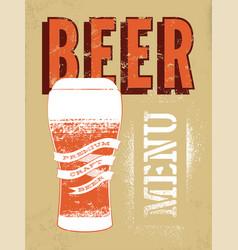 beer menu design vintage grunge style beer poster vector image