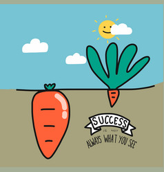 Big and small carrot and word success is not alway vector