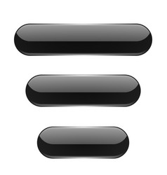 black oval buttons 3d glass menu icons vector image