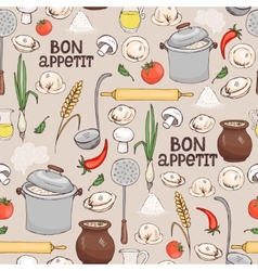 Bon Appetit seamless background pattern vector