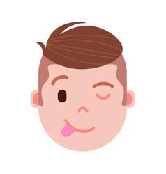 boy head emoji personage icon with facial emotions vector image