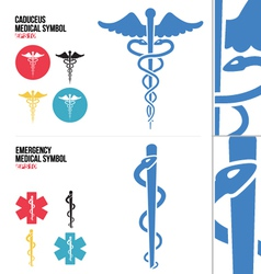 Caduceus Medical and Emergency Medical Symbols vector