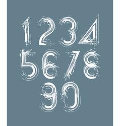 Calligraphic brush numbers on dark background vector