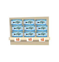 canned fish on store shelf seafood production vector image