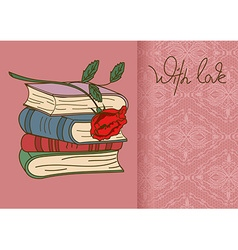 Card or invitation with books and rose flower vector