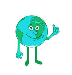 Cartoon character earth showing thumb up sign vector