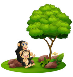 cartoon chimpanzee mother hug her baby chimp under vector image
