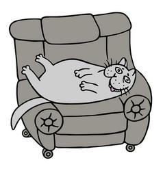 Cartoon lazy grey fat cat is lying on a armchair vector