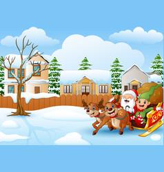 cartoon santa claus with de vector image