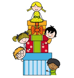 Children with gift packages vector image