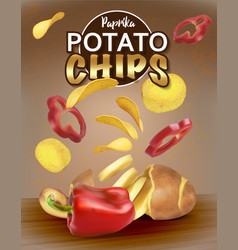 Chips with paprika cut potatoes packaging design vector