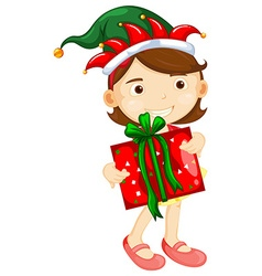 Christmas theme with girl holding present box vector