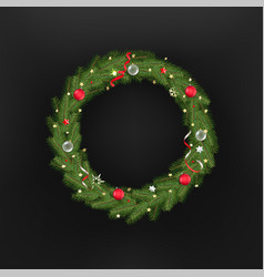 Christmas tree wreath template for greeting card vector