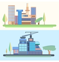 City trees houses buildings architecture city vector image