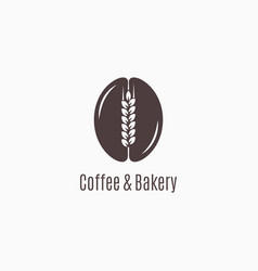 coffee bean with wheat logo coffee and bakery vector image