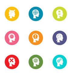 Cognition icons set flat style vector