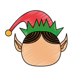 Color pencil cartoon front view faceless christmas vector