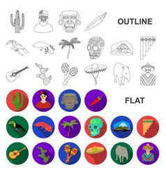 Country mexico flat icons in set collection vector