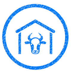 Cow garage rounded grainy icon vector