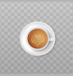 Cup cream coffee or cappuccino top view 3d vector