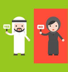 Cute arab businessman and muslim woman holding vector