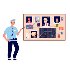 detective board crime investigation plan with vector image