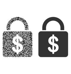 Dollar lock collage of dollars vector