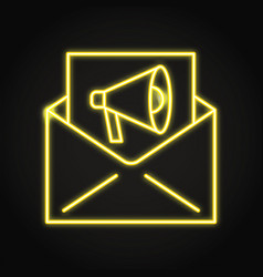 e-mail marketing icon in neon line style vector image