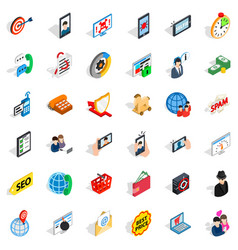 Electric communication icons set isometric style vector