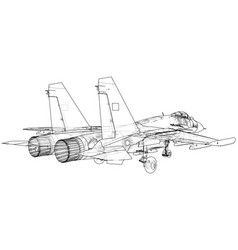 Fighter jet wireframe concept created vector