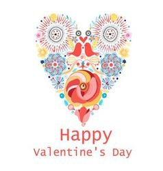 Floral heart of flowers Valentine s day card vector image