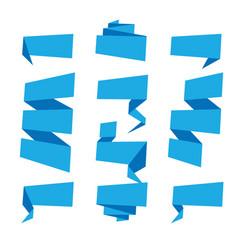 folded ribbon banner set collection blue label vector image