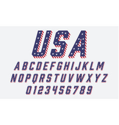 Font usa flag stars and stripes vector
