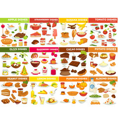 Fruit vegetable and nut dishes food cooking vector