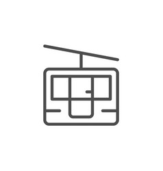 Funicular cableway line outline icon vector