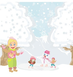 girls and snowman playing in a winter day vector image