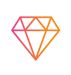 Gradient orange to pink flat diamond icon vector