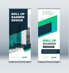 green business roll up banner abstract roll up vector image