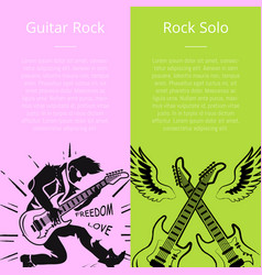 guitar rock and solo posters with text vector image